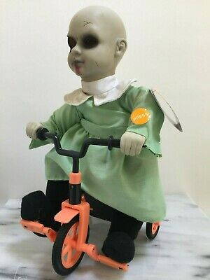 Haunted Halloween Animated Doll on Tricycle Prop Decoration Creepy Gothic