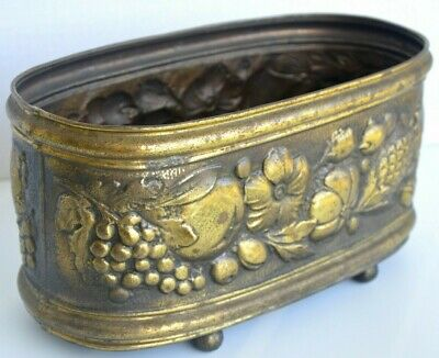 Vintage Metal Oval Planter, Brass Finish, Raised Floral Design, Made in Belgium