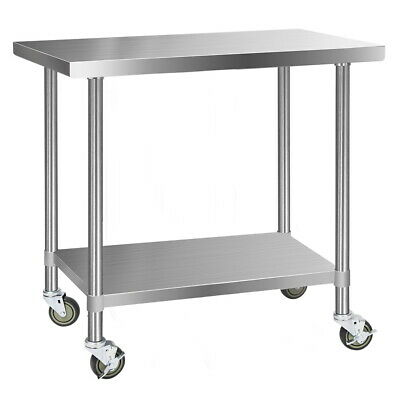 Cefito 430 Stainless Steel Kitchen Benches Work Food Prep Table with Wheels