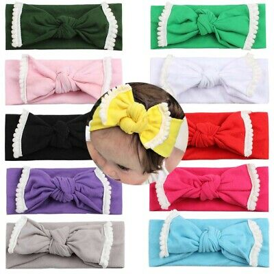 Newborn Baby Headband Turban Lace Soft Kids Child Girl Bows Hair Band Breathable
