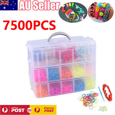 7500PCS Rainbow Loom Band Storage Kit Bands Board Hooks Clips Charms Beads Box