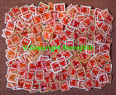 500x GB 1st Class Large Letter Red Machin's NVI Used Security Stamps Trimmed