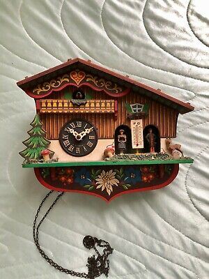 Vintage Hand Made Black Forest Wooden Cuckoo Clock with Weather-House - Germany
