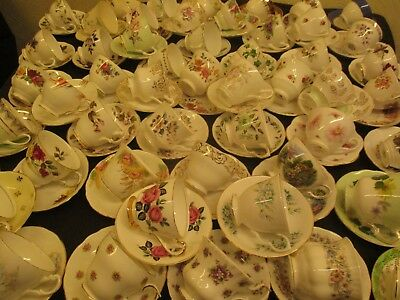 Mismatch Job Lot  Of 5 Vintage China Cups & Matching Saucers, Parties Tearooms