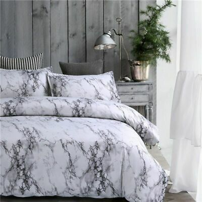 Marble Effect Dovet Quilt Cover Bedding Set Single Double King Size Pillowcases