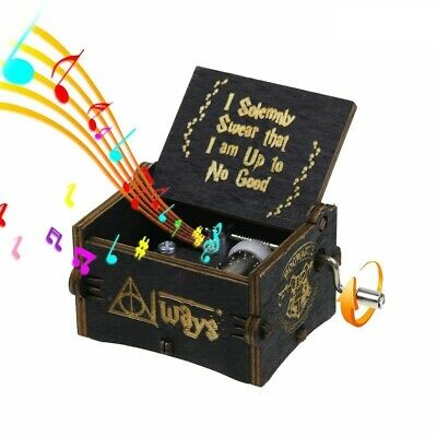Retro Wooden Music Box Antique Hand Crank Engraved Toys Kids Birthday Gift
