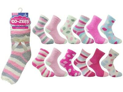 Ladies slipper socks bed sock coZee fluffy comfy winter 3 Pair Pack