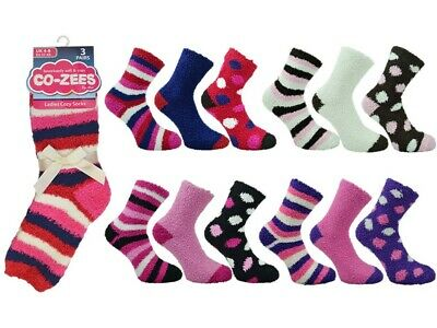 Ladies slipper socks bed sock coZee fluffy comfy winter 6 Pair Pack