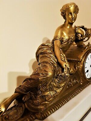 Large French Ormolu & White Marble Figural Mantel Clock.