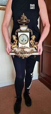 Large Antique French Ormolu and White Onyx Mantel Clock.