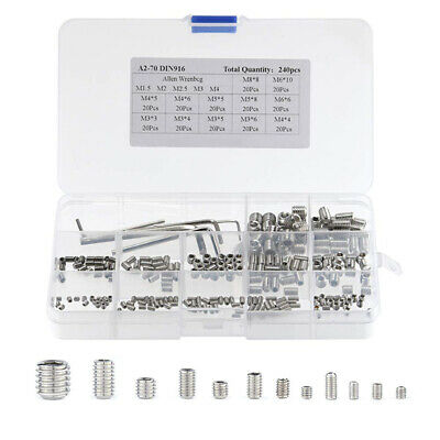 240Pcs Stainless Steel Cup Point Grub Hex Head Allen Screw Set with 5 Key Wrench