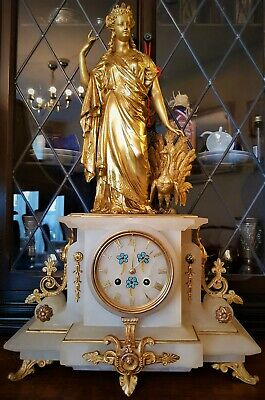 Large 19th Century French Gilt & White Stone Figural Mantel Clock.
