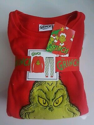 Primark The Grinch age 4-5 years Christmas kids childrens fleece pyjamas set 2