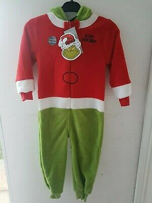 Primark Grinch 4-5 years old Christmas kids childrens  fleece jumpsuit pyjamas