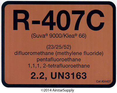 R-407C / R407C SUVA 9000 / KLEA 66 Refrigerant Label # 04407 , Sold Each