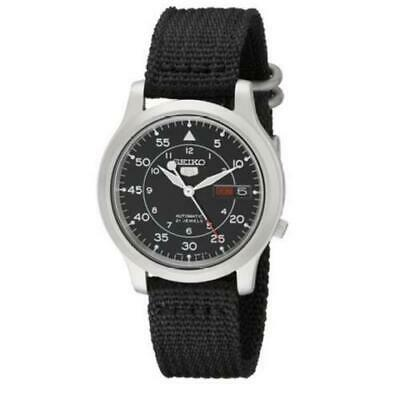Seiko Mens Snk809 5 Automatic Stainless Steel Watch black Military Style Gift