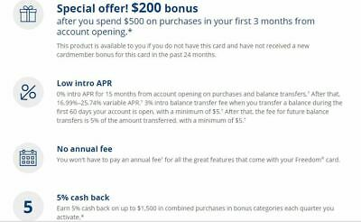 $200 Bonus from Chase Freedom Credit Card Account Referral *NO Annual fee