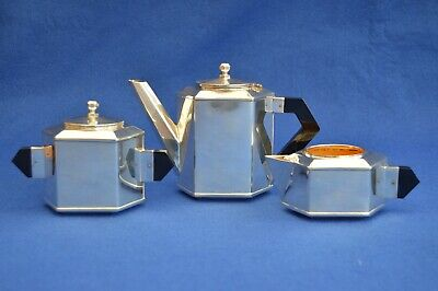 Antique French Art Deco Silver Plate Tea set - Teapot - Milk Jug - Sugar -