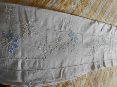 LINGE ANCIEN  SUPERBE GRAND DRAP BRODE - antique's linen sheet with embroideries