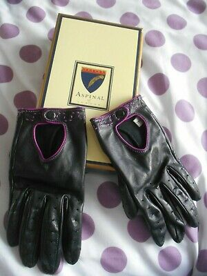 """""""Aspinal of London"""" Fabulous Black & Cerise Nappa Leather Gloves in Original Box"""