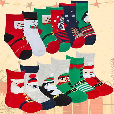 3 6 Pairs Baby Boy Girl Xmas Cotton Rich Christmas Socks Festive 0-0 0-2.5 3-5.5