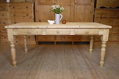 8 seater Farmhouse Country rustic solid waxed pine Very large table with drawers