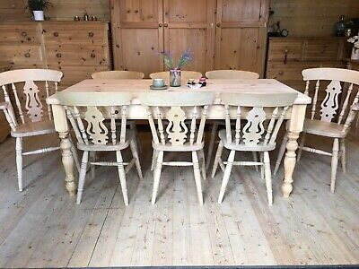 Large 8 seater farmhouse solid waxed pine 6ft table and chairs x 8 inc carvers