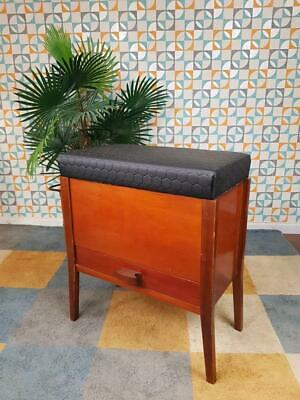Vintage 1960s Black Vinyl & Teak Storage Stool Sewing Box Mid-Century Free Post!