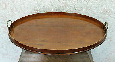 Xl Servier Tablett - Oval Messing Griffe - Art Deco - 20S 30S 40S Serving Tray