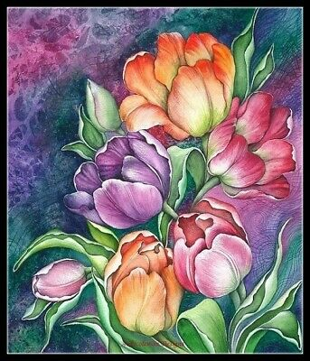 Colorful Tulips - Counted Cross Stitch Patterns Needlework embroidery