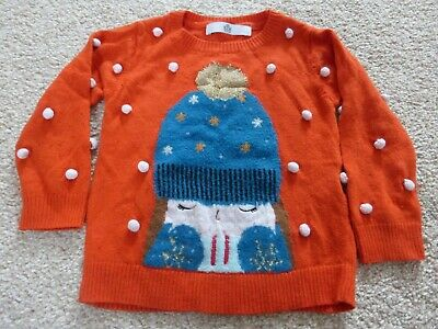 M&S baby girls Winter Christmas orange jumper 18 months to 2 years