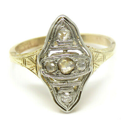 NYJEWEL Estate Antique Art Deco 14k Two Tone Gold Rose Cut Diamond Ring Sz 7.75