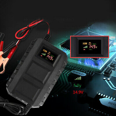 12V 20A LCD Screen Black Lithium Battery Charger For Car Motorcycle EU / US Plug