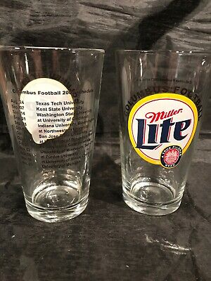 2 Miller Lite Beer Columbus Football Pint Glasses With Ohio State 2002 Schedule