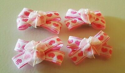 Lovely little girls hair accessories, pink color heart handmade, small set.