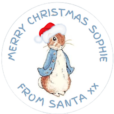 48 Personalised XMAS PETER RABBIT GIFT TAGS LABELS 40mm