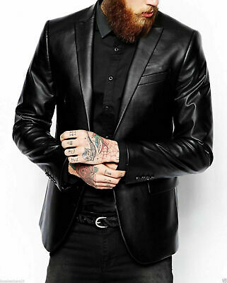 Mens Genuine Lambskin Real Leather Blazer Jacket Black Slim Fit Jacket Coat New