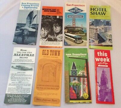 Lot of 8 San Francisco CA Vintage Transit Maps Guide Gray Line Most 1970s