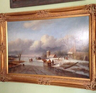 LG Vintage Oil Painting- Winter Landscape-Listed Artist L Stepano-Ornate Frame