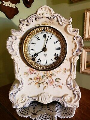 Antique Ansonia Porcelain 8 Day Clock-19th Century- Dresden
