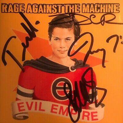 RAGE AGAINST THE MACHINE Signed Evil Empire CD Cover.
