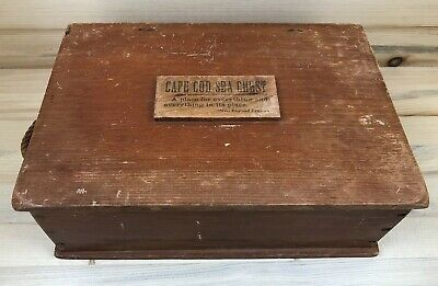 Sweet Vintage Small Cape Cod Sea Chest W/Proverb on Lid and Rope Handles