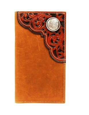 Nocona Western Wallet Mens Leather Rodeo Tooled Hair-onlay Copper N5426008