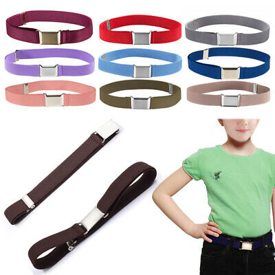 Elastic Boys Kids Girls Toddler Canvas Adjustable Waistband Alloy Buckle Belts