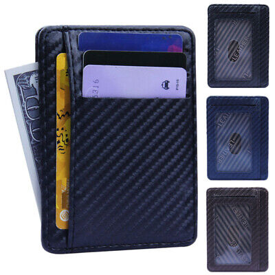 RFID  Slim Mens Coin Blocking Card Clip Credit Holder Wallet Money Leather