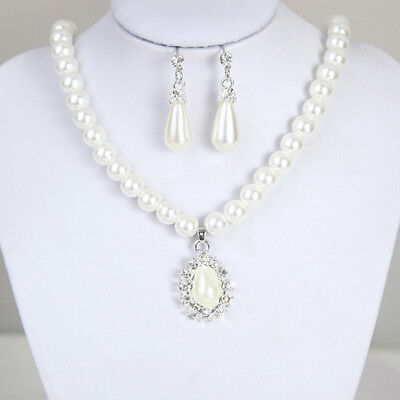 Elegant Pearl Crystal Drop Earrings Chain Necklace Wedding Party Jewelry Set  ts