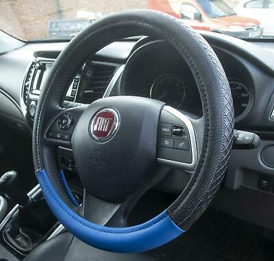 Luxury Steering Wheel Cover Black & Blue Leather Look Universal Fit Protection