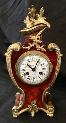 Antique french boulle clock rare minute size boudoir signed hamilton&hughes
