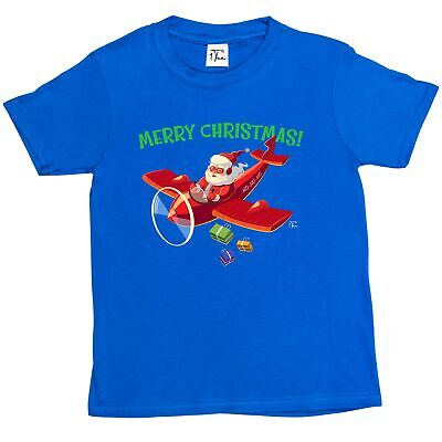 1Tee Kids Boys Santa Delivering Presents in Airplane T-Shirt