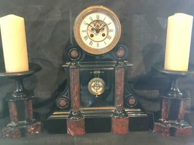 Antique French Large Marble Clock Garniture Set Brokot Escapement